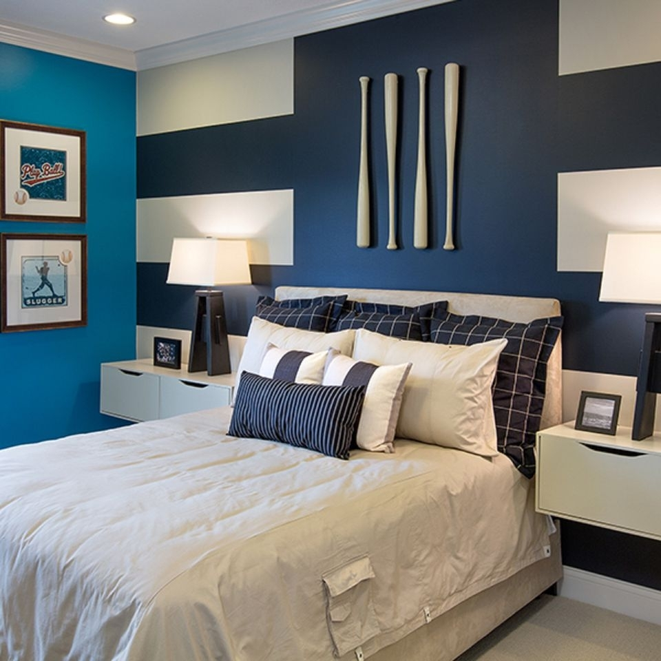 How To Decorate A Bedroom With Striped Walls Pertaining To Most Popular Stripe Wall Accents (View 7 of 15)