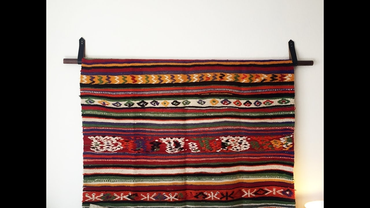 How To Hang A Rug | Hang A Tapestry | Diy Wall Hanging | Diy With Regarding Most Recent Mexican Fabric Wall Art (View 5 of 15)