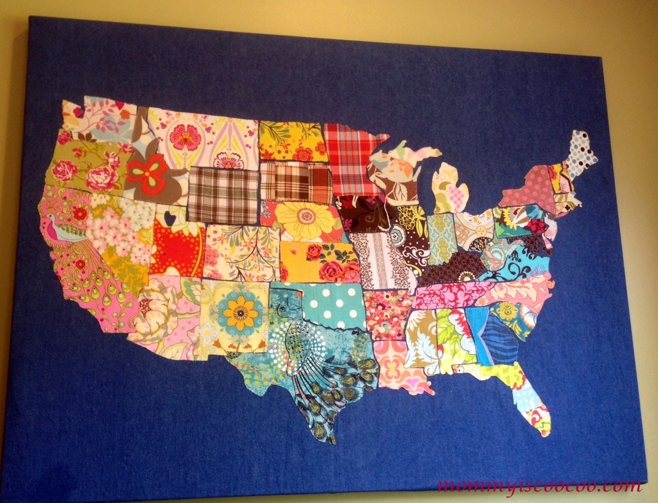 How To Make A Fabric Usa Map | Fabrics, Fabric Remnants And Craft Regarding Current Quilt Fabric Wall Art (Gallery 8 of 15)