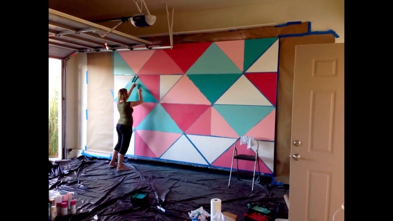 How To Paint A Giant Geometric Feature Wall / Mural – Youtube In 2018 Geometric Shapes Wall Accents (Gallery 15 of 15)