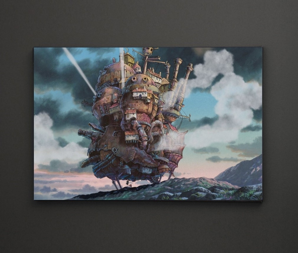 Howls Moving Castle A4 Framed/box Canvas A4 A3 A2 A1 Gift Ideas For Most Up To Date Leadgate Canvas Wall Art (Gallery 13 of 15)