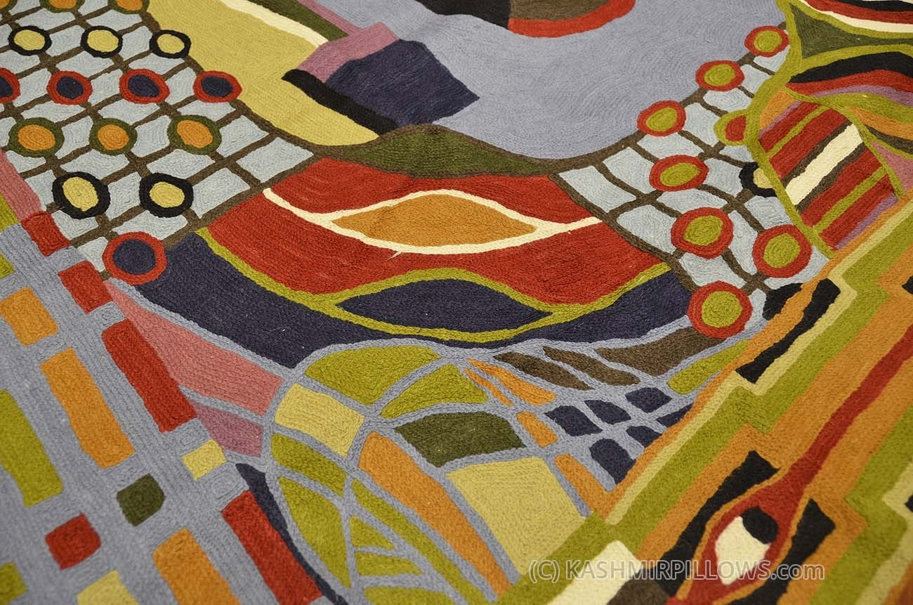 Hundertwasser Rugs Abstract Wall Hangings Hand Embroidered Accent Inside Most Popular Abstract Textile Wall Art (View 14 of 15)