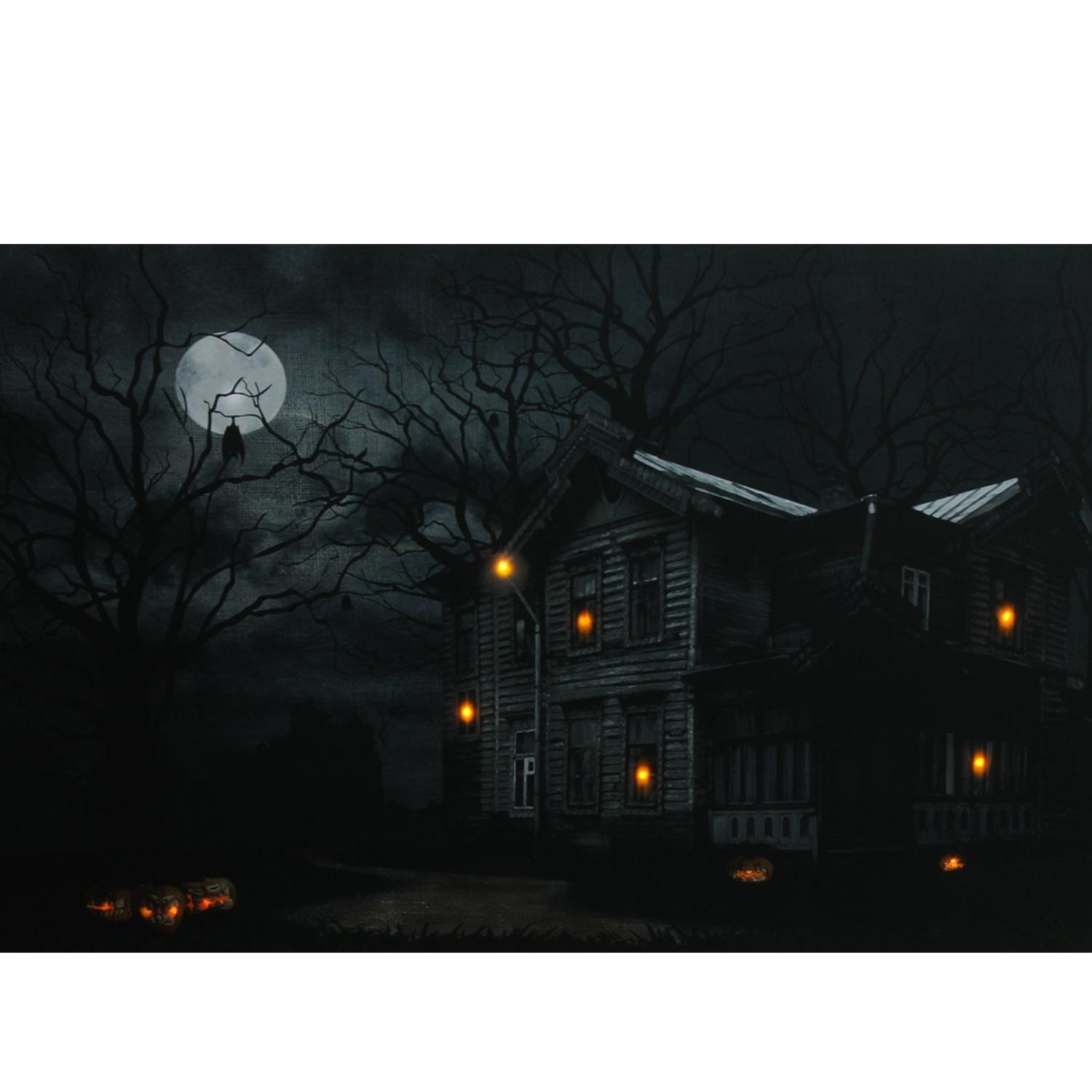 Hutton Chase – Artwork – Led Lighted Moonlit Halloween House With Inside Best And Newest Halloween Led Canvas Wall Art (Gallery 12 of 15)