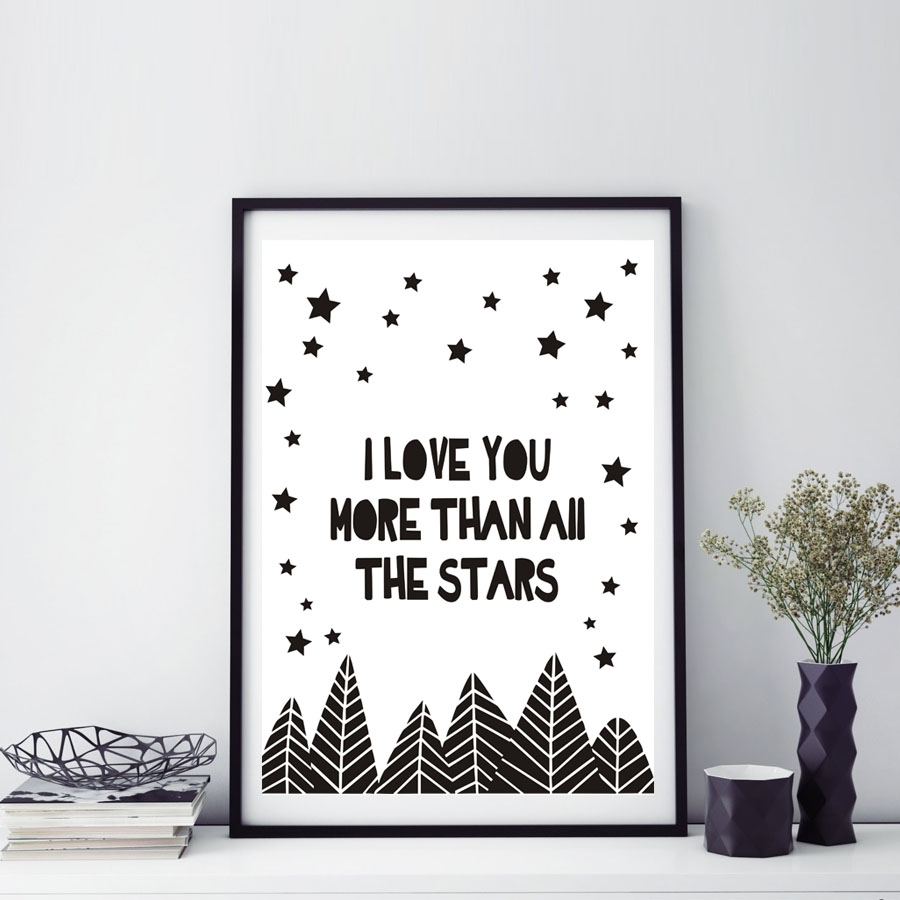 I Love You More Than All The Stars Letters Quotes A4 Canvas Wall Regarding Most Popular Love Canvas Wall Art (View 8 of 15)