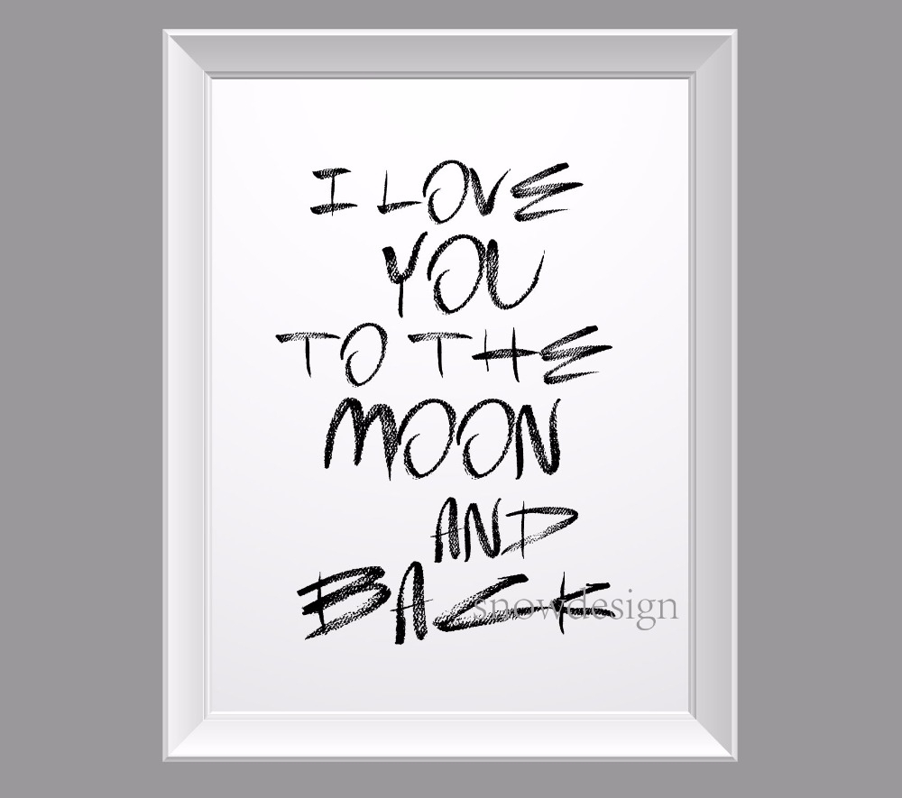 I Love You To The Moon And Back Quote Canvas Wall Art Poster Print Inside Most Recent Love Quotes Canvas Wall Art (View 4 of 15)