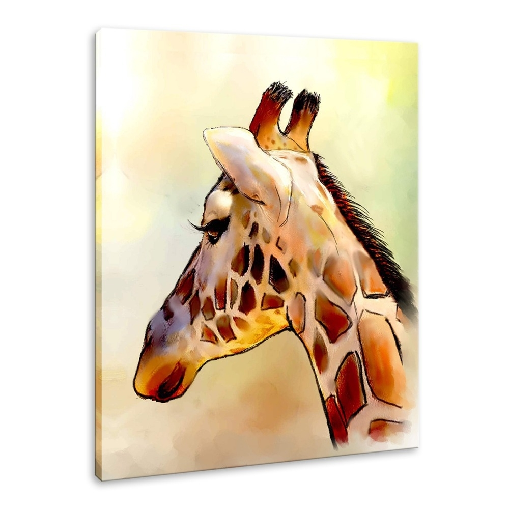 Iarts Modern Wall Art Print + Hand Painted Beautiful Giraffe Intended For Most Recently Released Giraffe Canvas Wall Art (View 8 of 15)