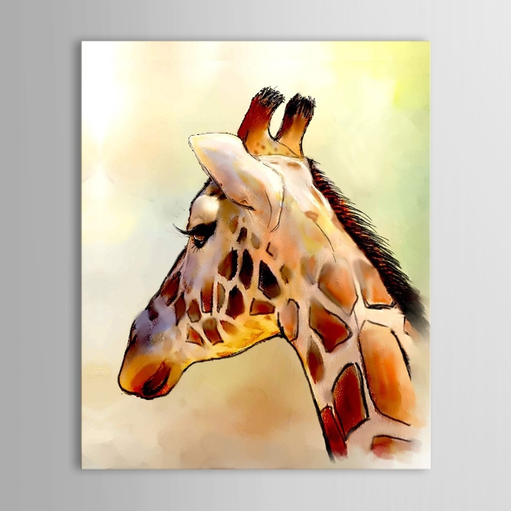 Iarts Modern Wall Art Print + Hand Painted Beautiful Giraffe With Regard To Most Recently Released Giraffe Canvas Wall Art (View 3 of 15)