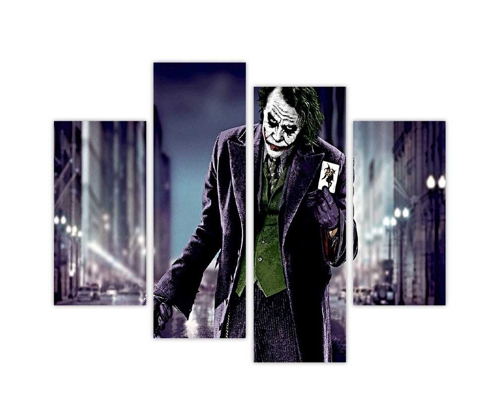 Iconic Batmans Joker Holding Playing Card In Dark Road Pop Art Within Newest Joker Canvas Wall Art (View 12 of 15)
