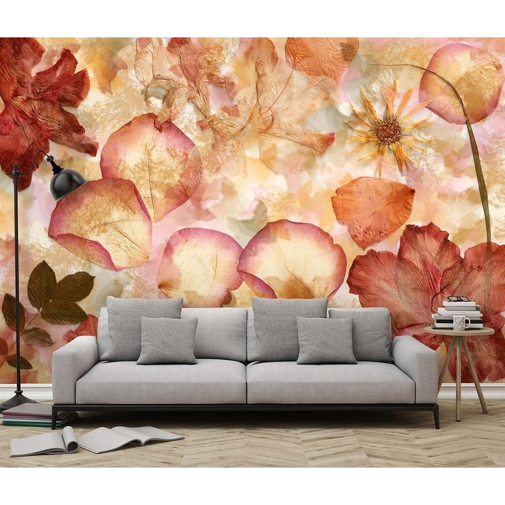 Ideal Decor 144 In. W X 100 In. H Dried Flowers Wall Mural Dm963 Throughout Best And Newest Murals Wall Accents (Gallery 7 of 15)