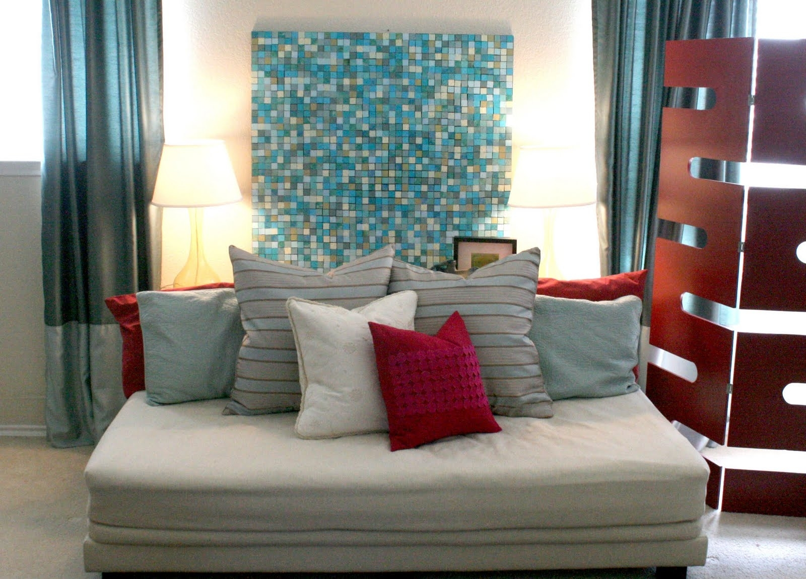 Ideas: Comfortable White Sofa Bed With Cushions And Nice Mosaic Pertaining To Latest Jcpenney Canvas Wall Art (View 4 of 15)