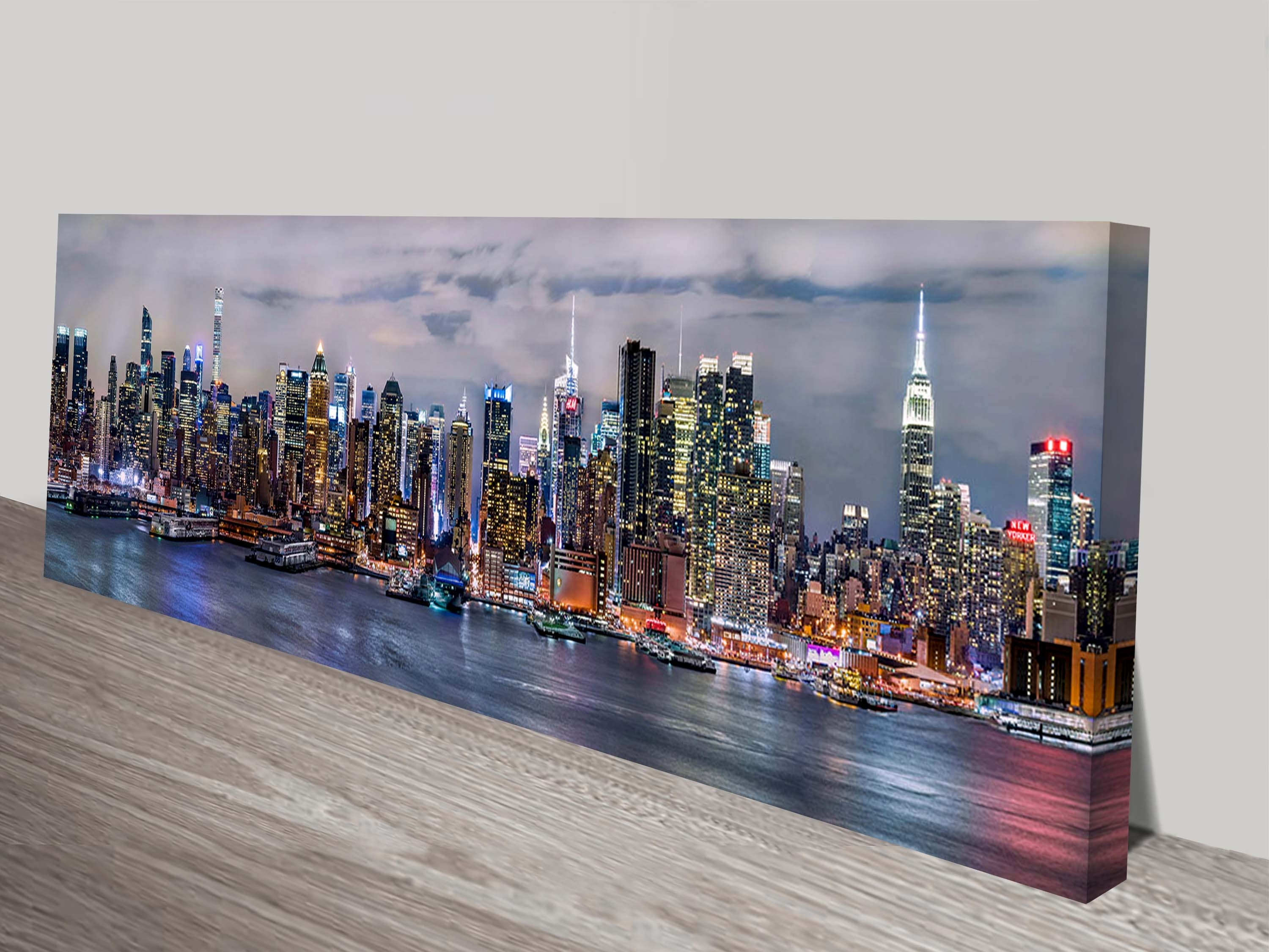 Illuminated Manhattan Skyline New York Panoramic Canvas Aer For Most Recently Released Panoramic Canvas Wall Art (View 12 of 15)