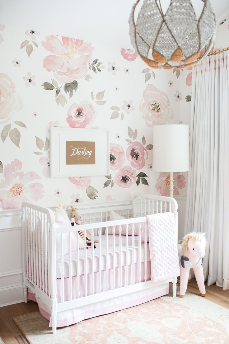 In The Nursery With Monika Hibbs | Floral Nursery, Floral Within Newest Girl Nursery Wall Accents (Gallery 4 of 15)