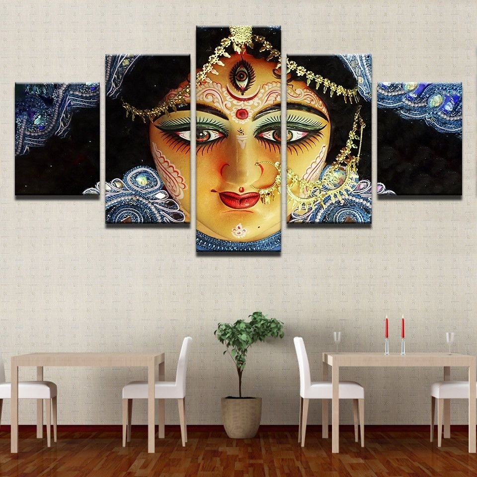 India Goddess Durga Paintings Poster Modern Picture Canvas Wall Within 2018 India Canvas Wall Art (Gallery 8 of 15)