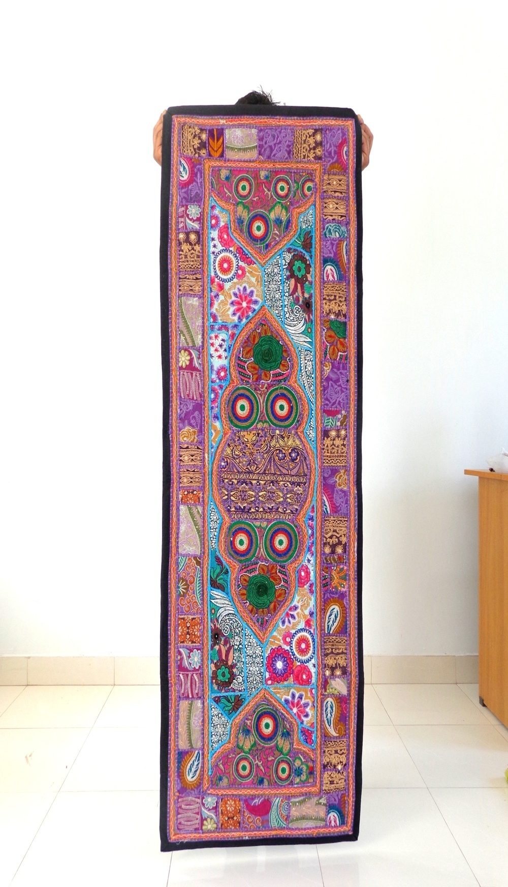 Indian Handmade Thread Work Tapestry Vintage Patch Cut Work Wall Throughout Newest Handmade Textile Wall Art (View 9 of 15)