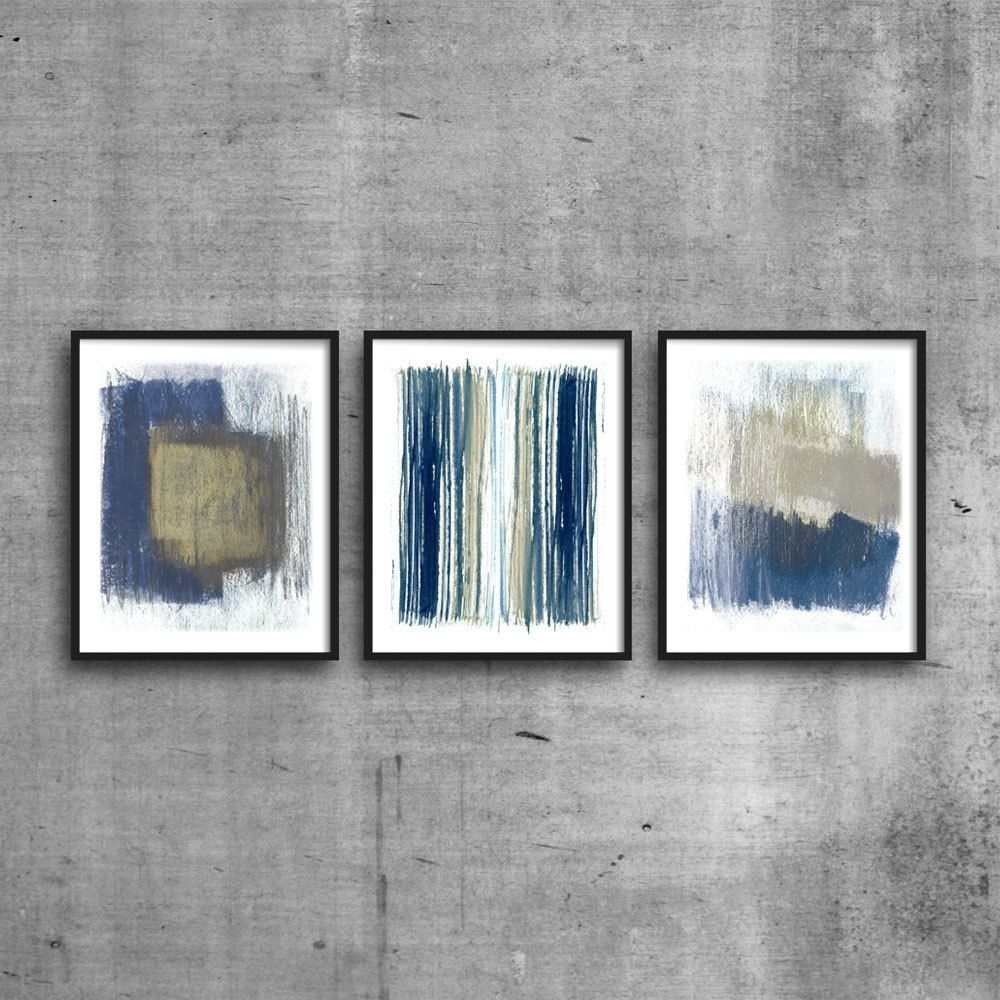 Indigo & Beige Abstract Triptych, Modern Art Print Set, Blue Regarding Best And Newest Abstract Framed Art Prints (View 8 of 15)