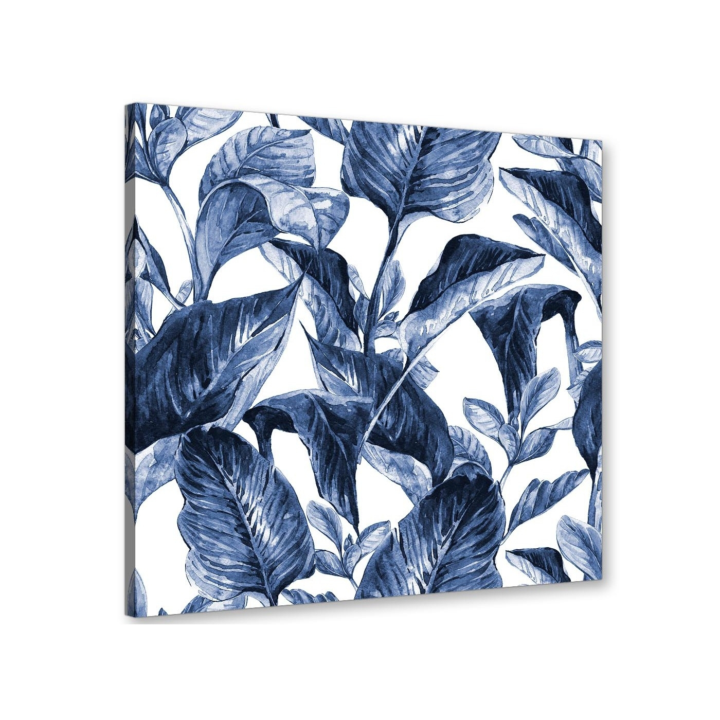 Indigo Navy Blue White Tropical Leaves Canvas Wall Art – Modern With Regard To Most Recently Released Navy Canvas Wall Art (View 6 of 15)