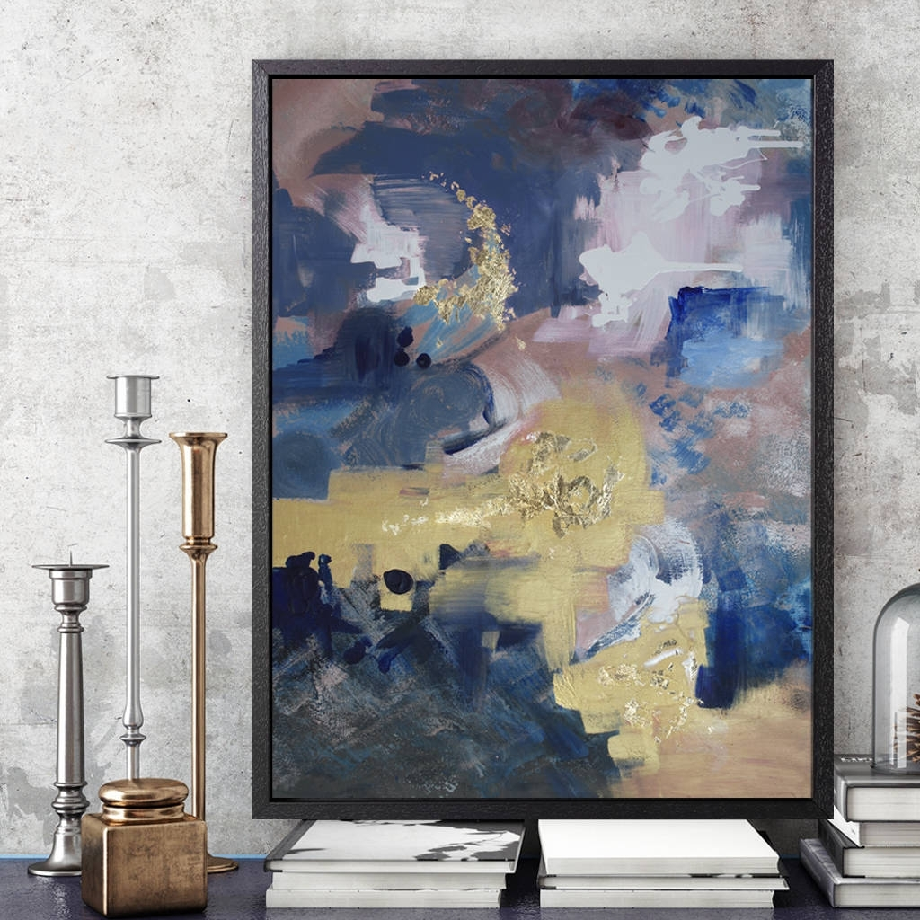 Indigo Polo' Framed Giclée Abstract Canvas Print Artattikoart Intended For Latest Abstract Framed Art Prints (View 9 of 15)