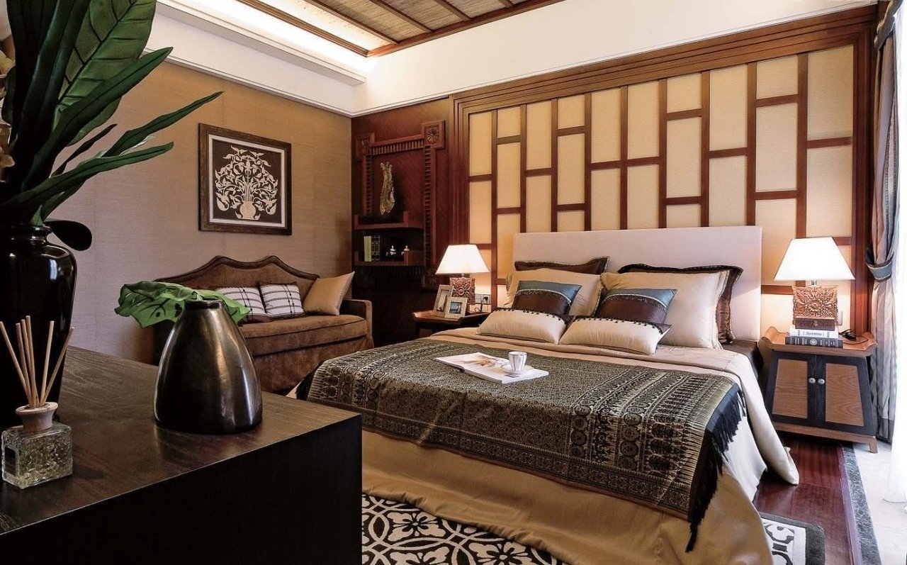 Interior : Asian Bedroom Interior Decor Ideas With Wood Chinese Regarding 2017 Asian Wall Accents (View 12 of 15)