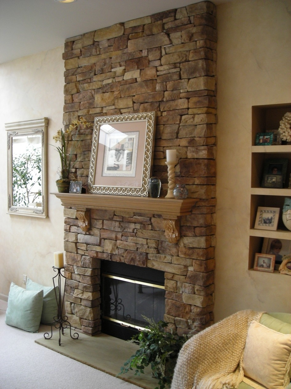 Interior: Classy Living Room Design Ideas With Brown Stone Pertaining To Most Up To Date Fireplace Wall Accents (Gallery 12 of 15)