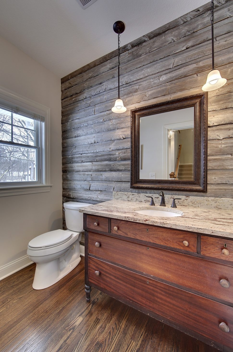 Interior Design : Powder Room With Barn Wood Accent Wall Vanity Within Most Current Antique Wall Accents (View 7 of 15)