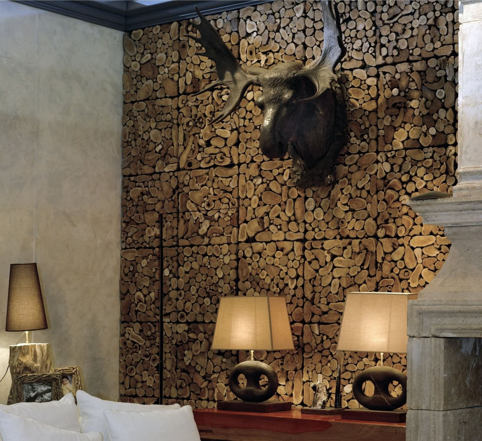 Interior Design : Spectacular Black Finished Faux Deer Head Hang Within Best And Newest Wood Paneling Wall Accents (View 9 of 15)