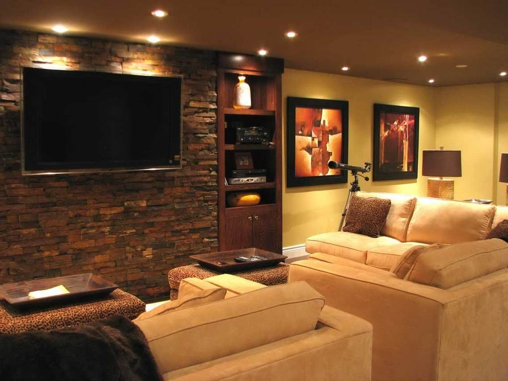 Interior : Fantastic Modern Home Media Room Design With Round Regarding Most Popular Wall Accents For Media Room (Gallery 3 of 15)