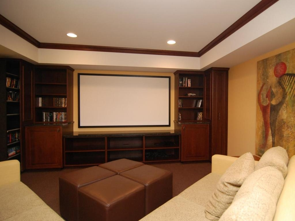 Interior : Fantastic Modern Home Media Room Design With Round With Regard To Recent Wall Accents For Media Room (Gallery 15 of 15)