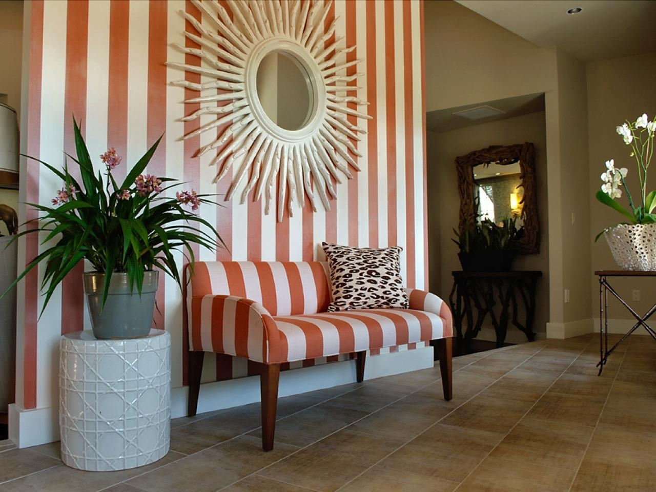 Interior | Striped Foyer Theme With Sunburst Wall Mirror Decor In Best And Newest Entrance Wall Accents (View 11 of 15)