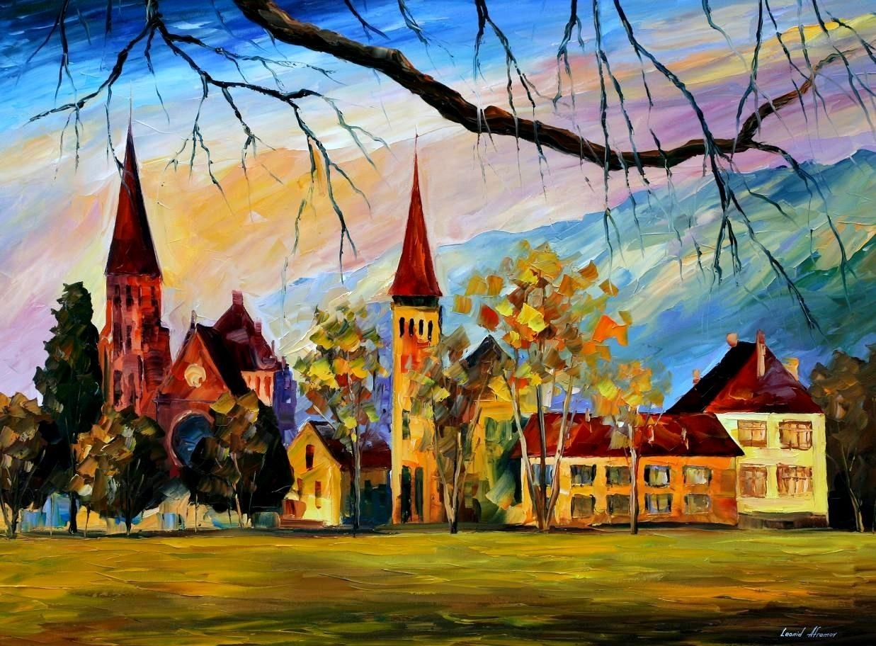 Interlaken, Switzerland — Palette Knife Oil Painting On Canvas With Most Recent Landscape Canvas Wall Art (View 9 of 15)
