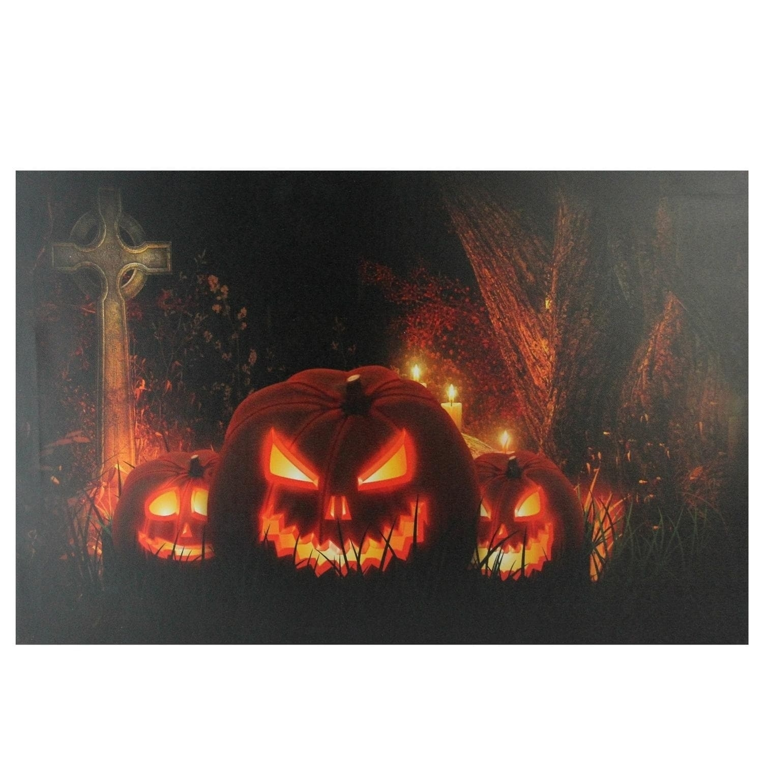 Jack O Lanterns In A Cemetery Halloween Led Lighted Canvas Wall In Best And Newest Halloween Led Canvas Wall Art (View 8 of 15)
