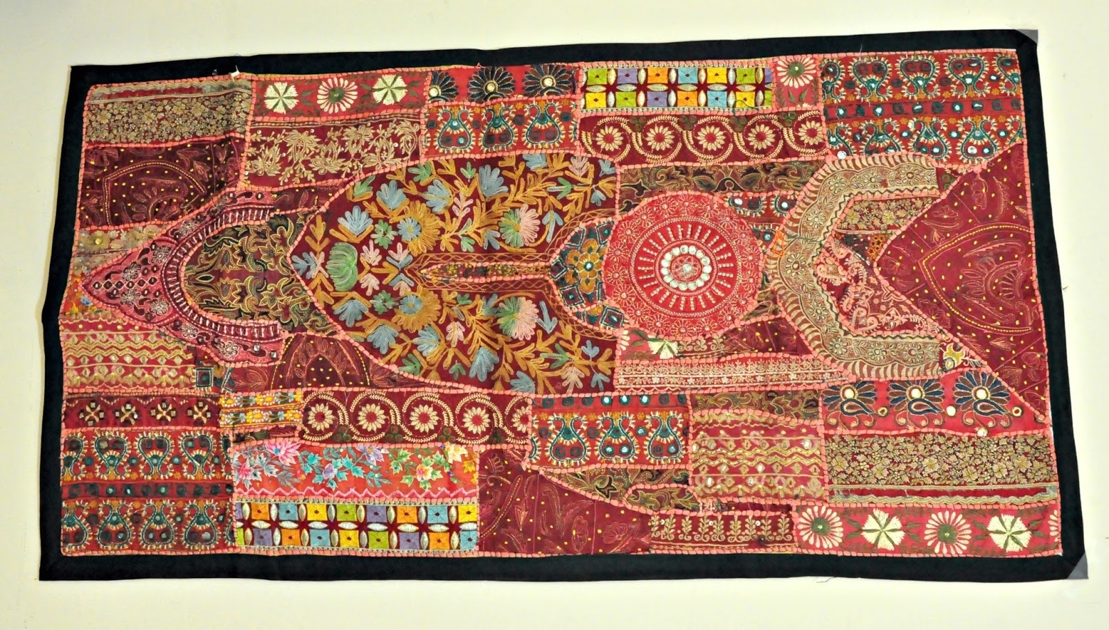 Jaipur Handloom: Indian Vintage Handmade Patchwork Tapestry Wall Regarding Latest Vintage Textile Wall Art (View 7 of 15)