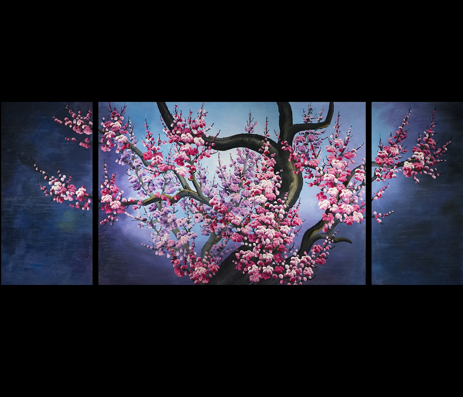 Japanese Cherry Blossom Painting Abstract Art Canvas Wall Art With 2017 Canvas Wall Art In Purple (Gallery 11 of 15)