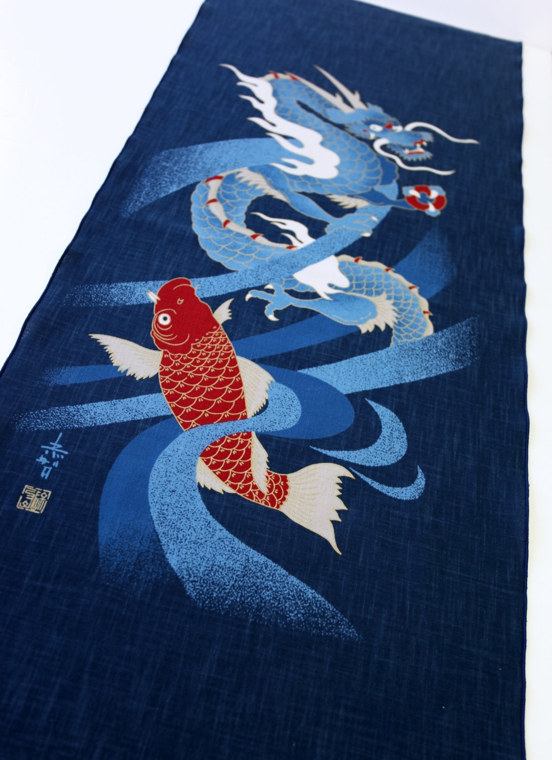 Japanese Indigo Blue Noren Panel, Geisha Noren Fabric Curtain With Regard To Latest Japanese Fabric Wall Art (View 5 of 15)