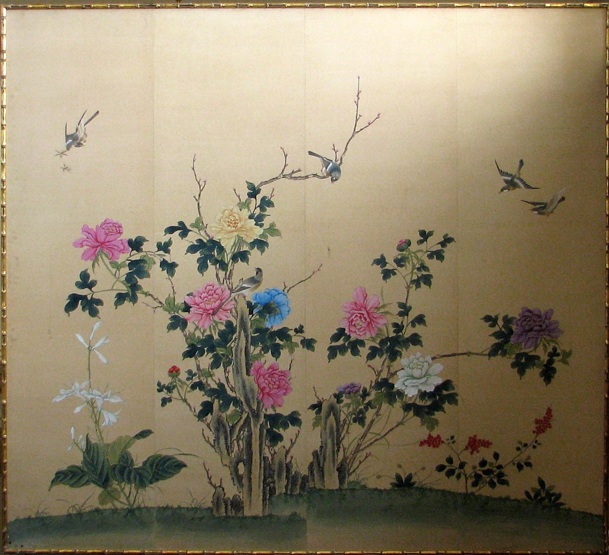 Japanese Silk Paintings | Framed Japanese Silk Print :: For The within Recent Flowers Framed Art Prints