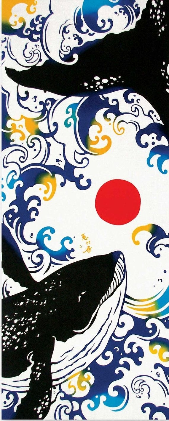 Japanese Tenugui Towel Fabric, Red Sun & Whale Animal, Hand Dyed within Most Up-to-Date Japanese Fabric Wall Art