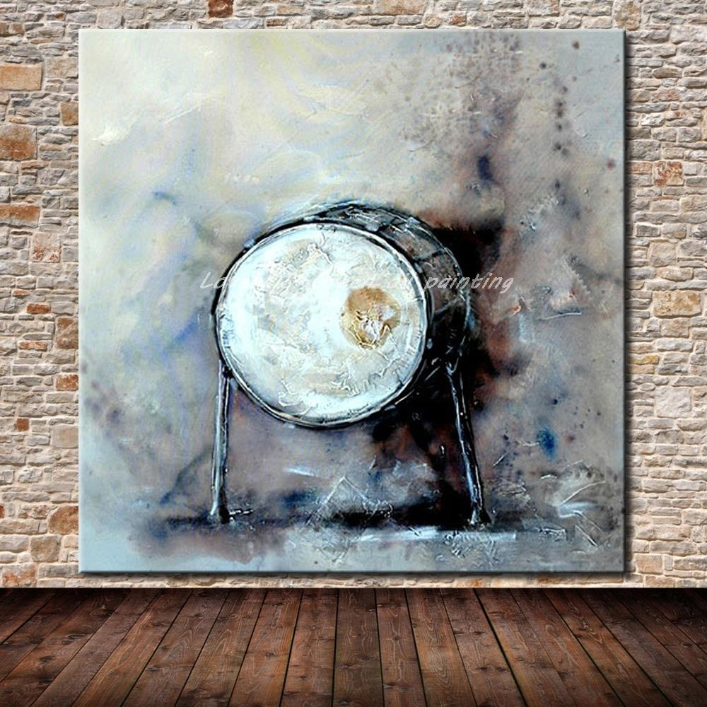 Jazz Drum Hand Painted Modern Abstract Canvas Oil Painting Wall Within Recent Jazz Canvas Wall Art (View 15 of 15)