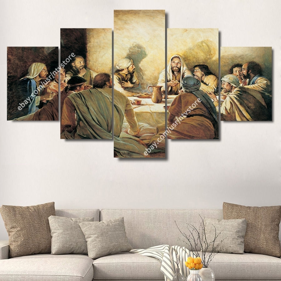 Jesus Christ & Apostles Painting Wall Art Canvas Print Christian Within Most Recent Religious Canvas Wall Art (View 5 of 15)