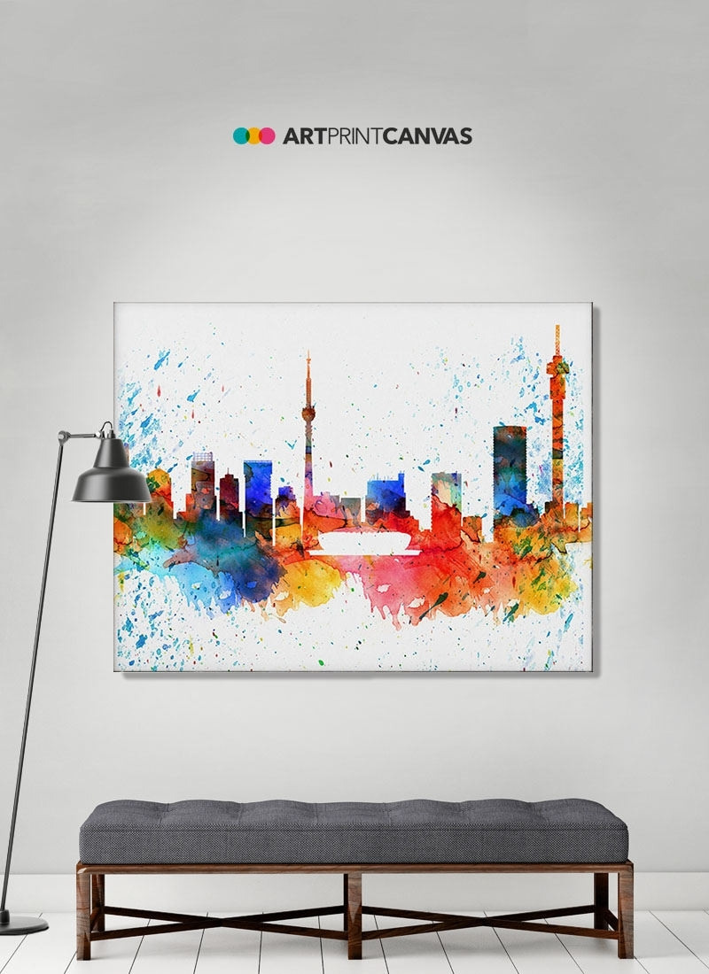 Johannesburg Canvas Print Johannesburg Watercolor Skyline Intended For Recent Johannesburg Canvas Wall Art (View 3 of 15)