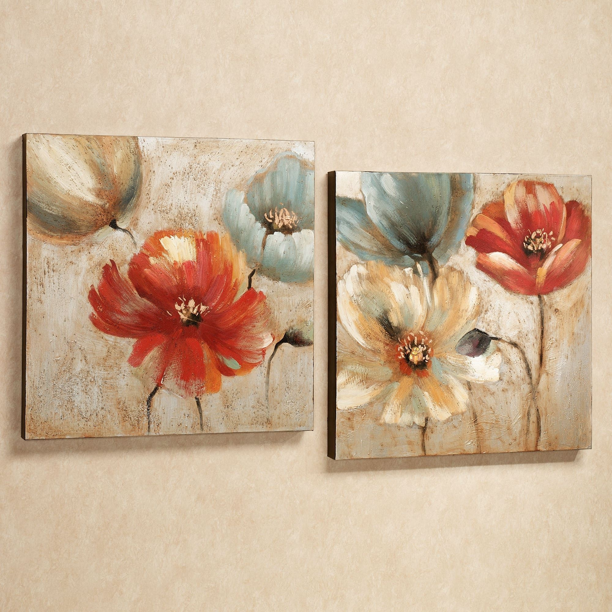 Joyful Garden Floral Canvas Wall Art Set Throughout 2017 Canvas Wall Art Of Flowers (View 3 of 15)