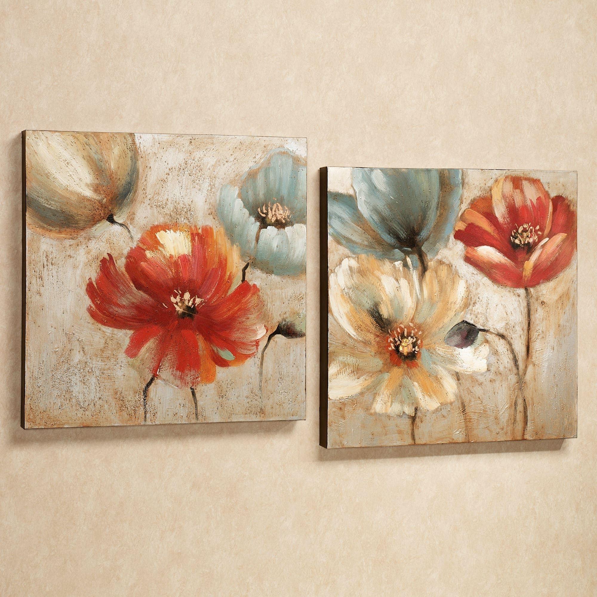 Joyful Garden Floral Canvas Wall Art Set Throughout 2017 Canvas Wall Art Of Flowers (View 6 of 15)