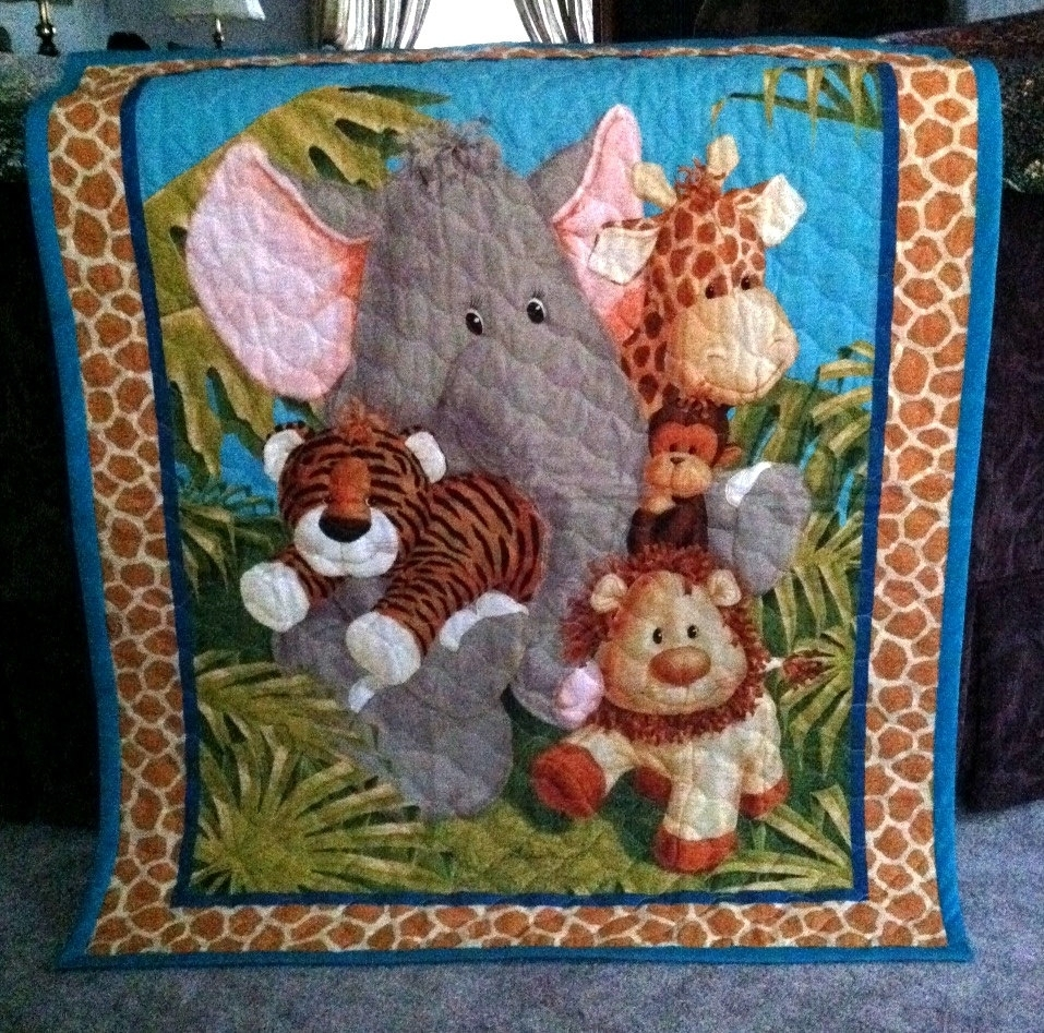 Jungle Baby Quilt Panel Blanketnursery Wall Hanging Olive Green Intended For Most Popular Baby Fabric Wall Art (View 7 of 15)