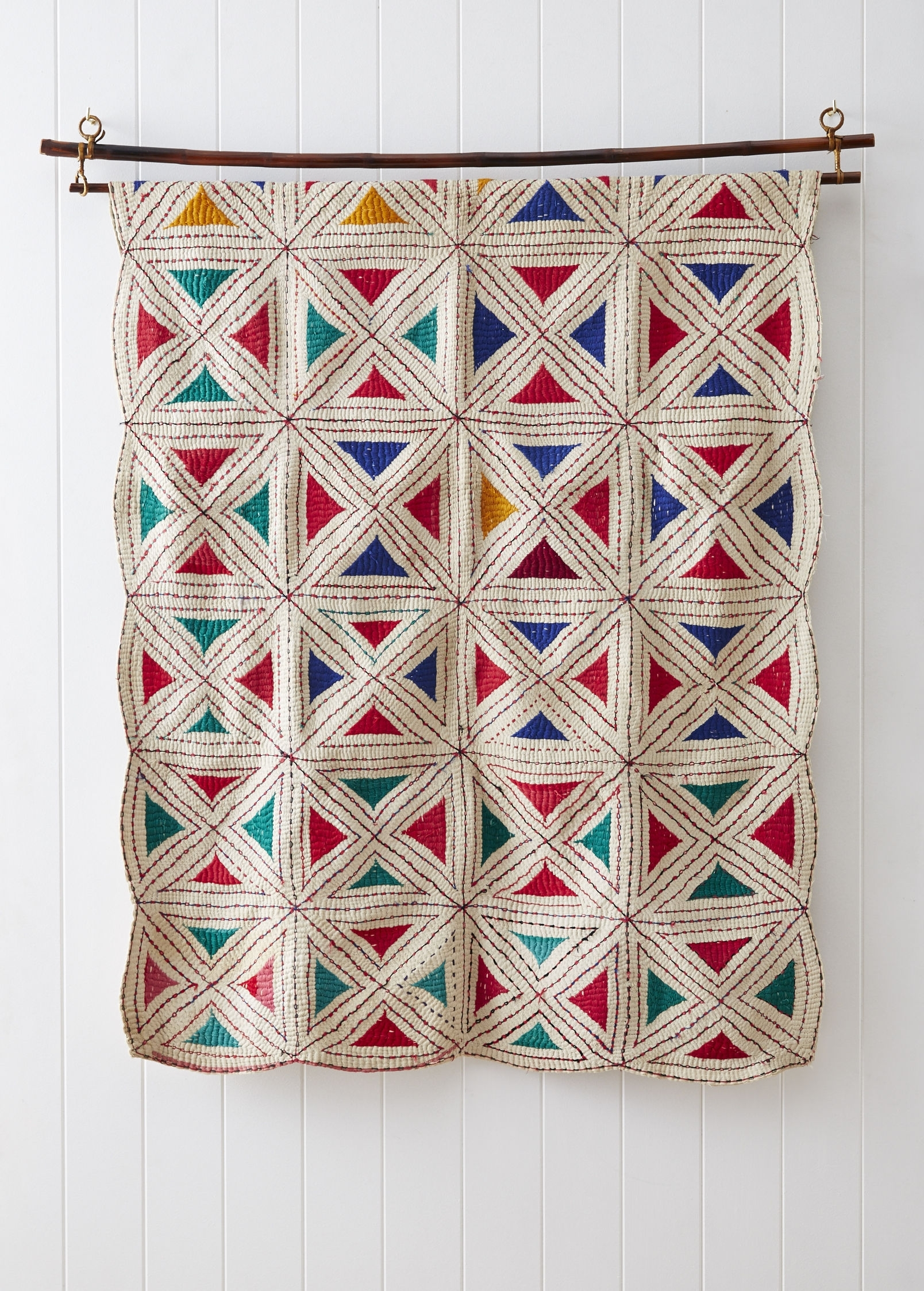 Kantha Stitched Wall Hanging for Most Popular Hanging Textile Wall Art