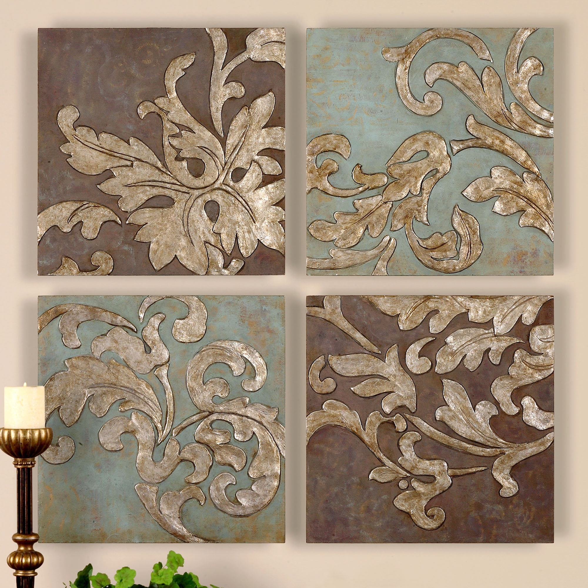 Karsyn Wall Art Set Antique Gold Set Of Four; Touchofclass In 2017 Damask Fabric Wall Art (Gallery 4 of 15)