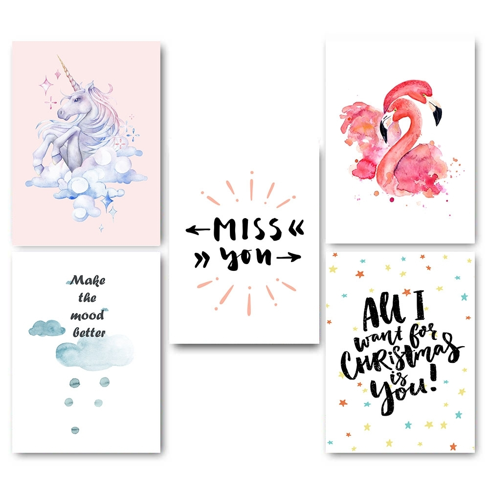 Kawaii Flamingo Unicorn Nursery Canvas Poster Canvas Prints Wall Pertaining To Recent Nursery Canvas Wall Art (View 11 of 15)