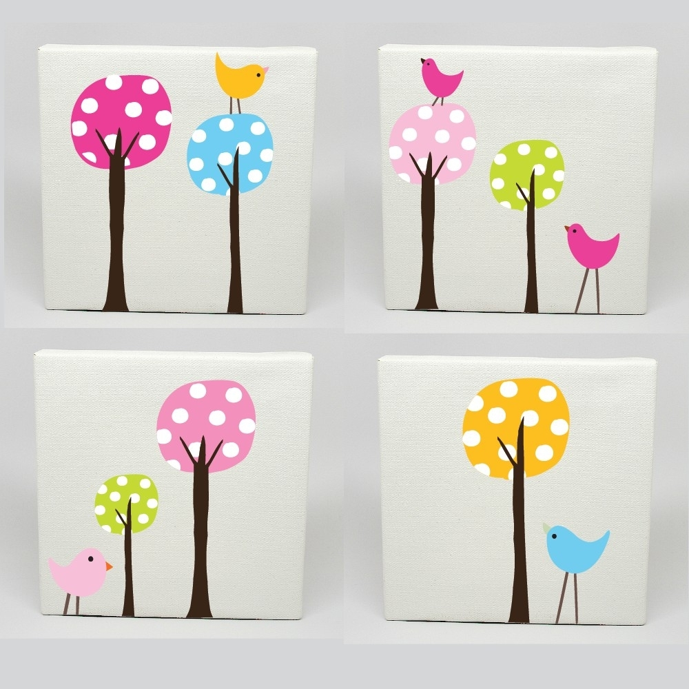 Kids Canvas Art Set Of 4 Polka Dot Tree Birds Nursery Childrens Within 2018 Baby Room Canvas Wall Art (View 4 of 15)