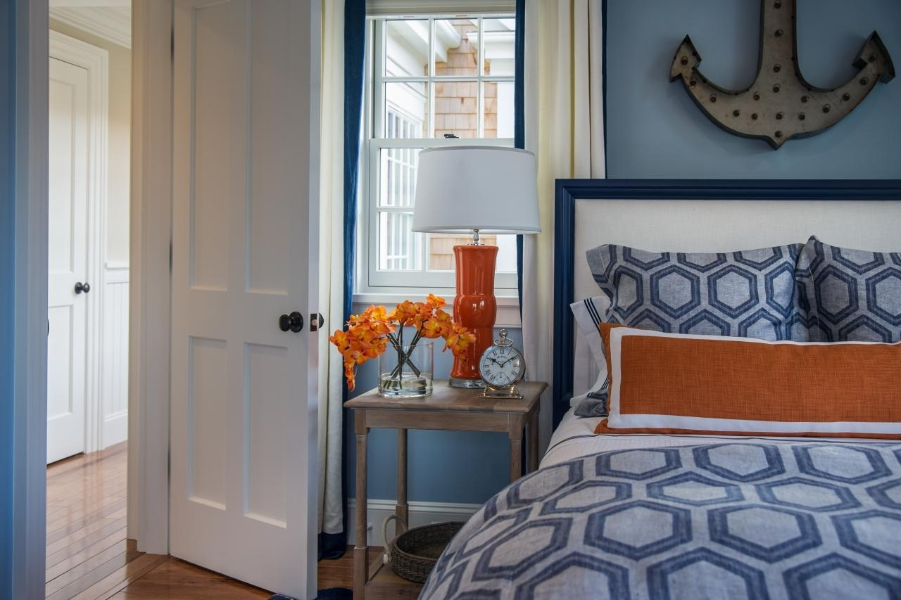 Killer Nautical Blue And Orange Bedroom Decoration Using Anchor With Regard To 2018 Light Blue Wall Accents (View 14 of 15)