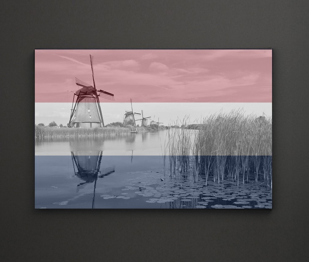 Kinderdijk Windmill Holland Flag A4 Framed/box Canvas A4 A3 A2 A1 In Newest Leadgate Canvas Wall Art (View 8 of 15)