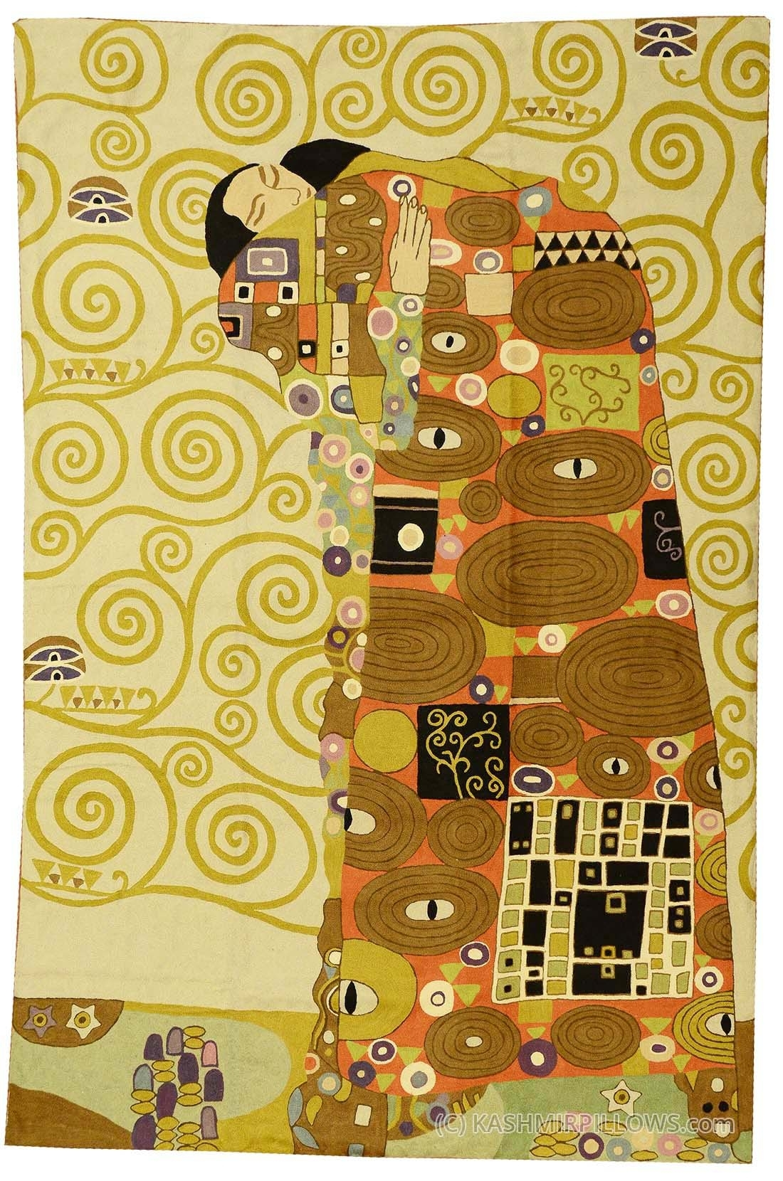 Klimt Kiss Wool Rug / Wall Tapestry Hand Embroidered 6Ft X 4Ft regarding Recent Contemporary Textile Wall Art