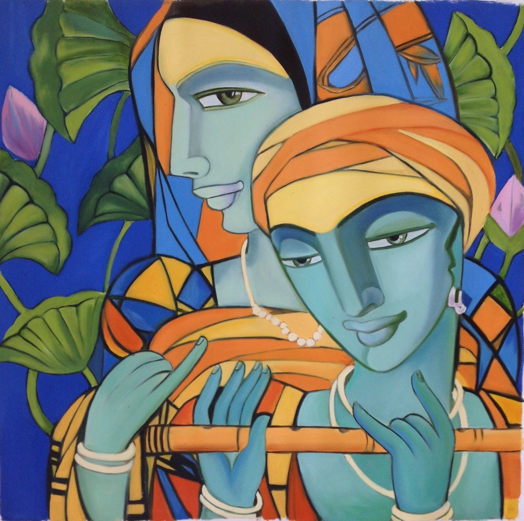 Krishna Radha Indian Art Handmade Modern Hindu Oil On Canvas Wall throughout 2018 India Canvas Wall Art