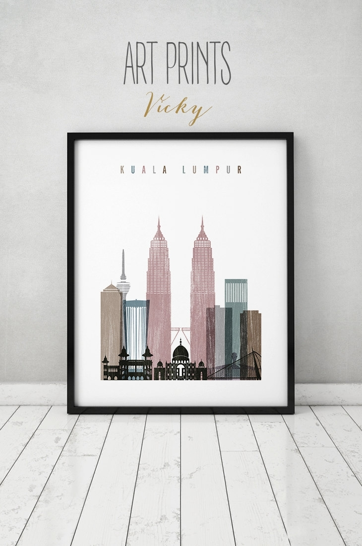 Kuala Lumpur Art Print, Kuala Lumpur Skyline, Poster, Wall Art With Regard To 2017 Malaysia Canvas Wall Art (Gallery 5 of 15)